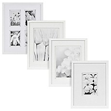 image of real simple white wood wall frame with white double mat - White Wood Frame