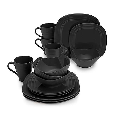 Mikasa 174 Swirl 16 Piece Square Dinnerware Set In Black