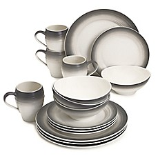 image of Mikasa® Swirl Ombre 16-Piece Dinnerware Set in Graphite