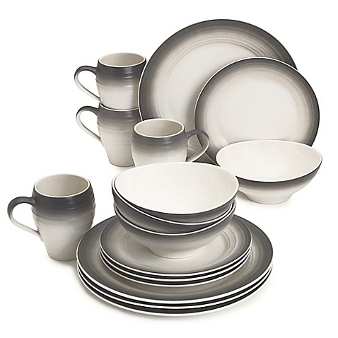 image of mikasa swirl ombre 16piece dinnerware set in graphite