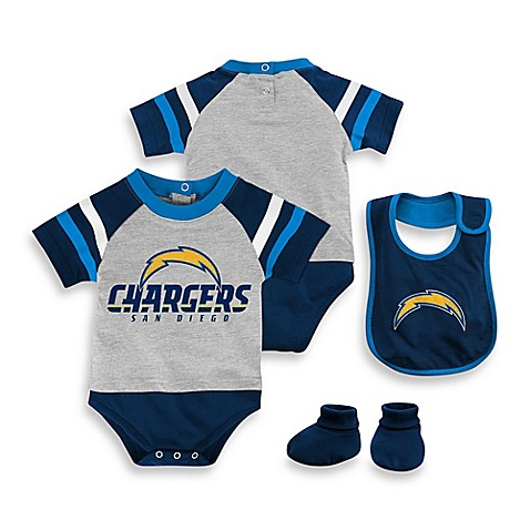 Nfl San Diego Chargers 3 Piece Creeper Bib And Bootie Set