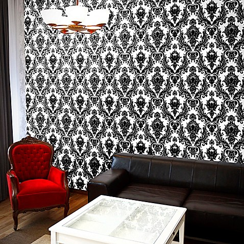 Tempaper 174 Removable Wallpaper In Damsel White And Black