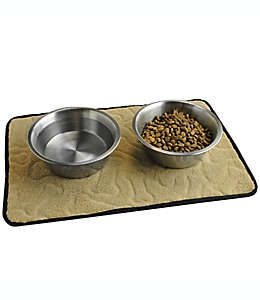 Tapete de poliéster para mascotas con estampado de huesos en relieve, 45.72 x 30.48 cm color café