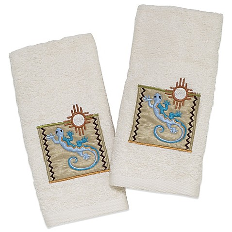 Avanti Gecko Fingertip Towel In Ivory Set Of 2 Bed