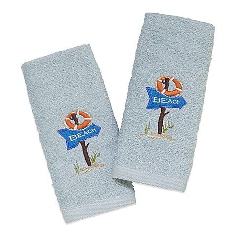 Avanti Beach Sign 2 Pack Fingertip Towels In Mineral Bed