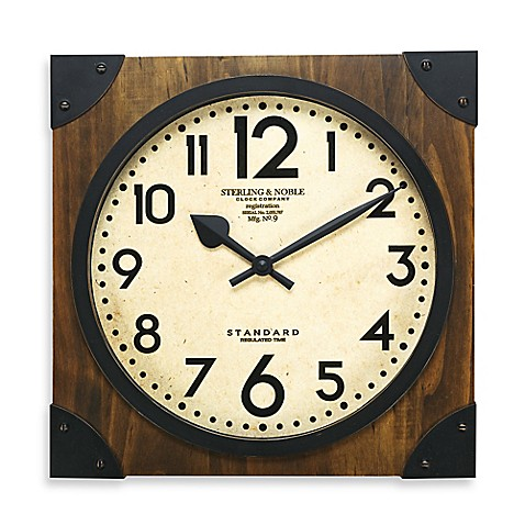 Sterling noble 16 inch antique wood wall clock bed bath beyond sterling noble 16 inch antique wood wall clock gumiabroncs Images