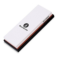 image of Messermeister 2-Sided 1000/3000 Grit Water Sharpening Stone with Silicone Base Storage
