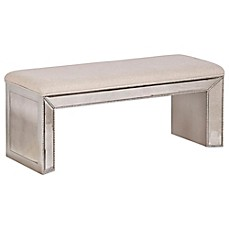 image of Bassett Mirror Company Murano Antique Mirror Bench in Silverleaf