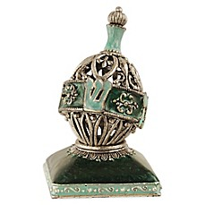image of Quest Collection Aqua Oval Dreidel with Stand