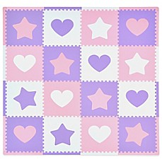 image of Tadpoles™ by Sleeping Partners Hearts and Stars 16-Piece Playmat Set in Pink/Lavender
