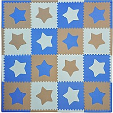 image of Tadpoles™ by Sleeping Partners Stars 16-Piece Playmat Set in Blue/Grey