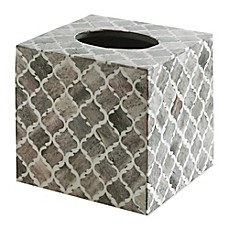image of kassatex marrakesh real bone boutique tissue box cover in grey - Kassatex