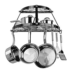 image of Range Kleen® Double Shelf Wall Mounted Pot Rack in Black