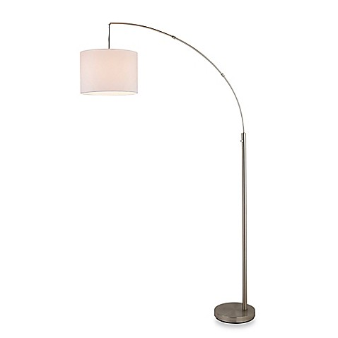 Adessor arc floor lamp in satin steel with linen shade for Arc floor lamp with fabric shade