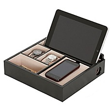 image of Mele & Co. Rory Wooden Charging Valet in Java Finish