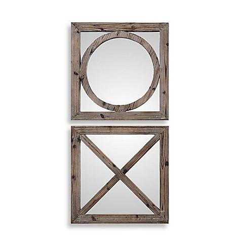 Uttermost Baci E Abbracci 18 Inch Square Wooden Mirrors In