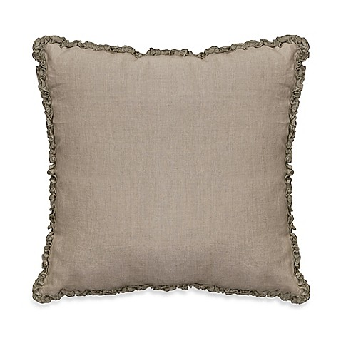 Luxury Decorative Pillow Collection : Downton Abbey Ruffled Luxury Collection Linen Square Throw Pillow - Bed Bath & Beyond
