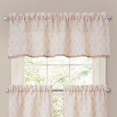 crystal brook window valance in ivory - bed bath & beyond