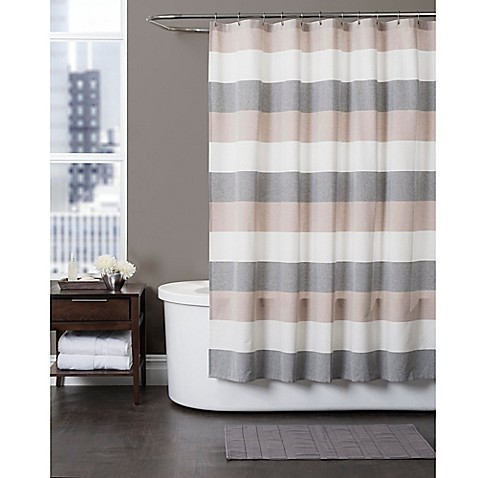 Grey White Striped Shower Curtain. Baltic Linen Yarn Dyed Strata Striped Shower Curtain  Bed Bath