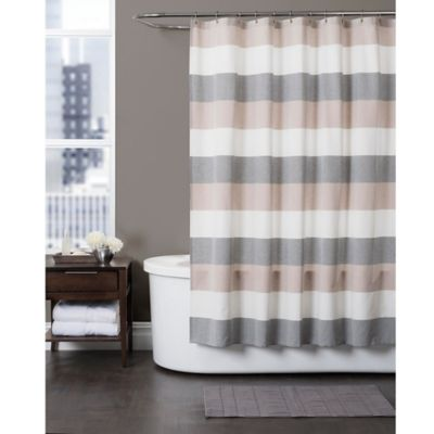 Brown And White Striped Shower Curtain White Stripe Shower