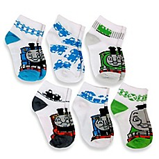 image of 6-Pack Thomas & Friends™ Boys Quarter Socks in Assorted Designs