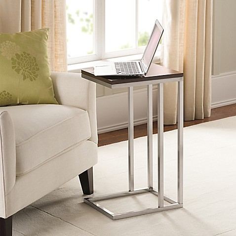 Black And Tan Morgan Narrow Brushed Steel C Table With Mdf