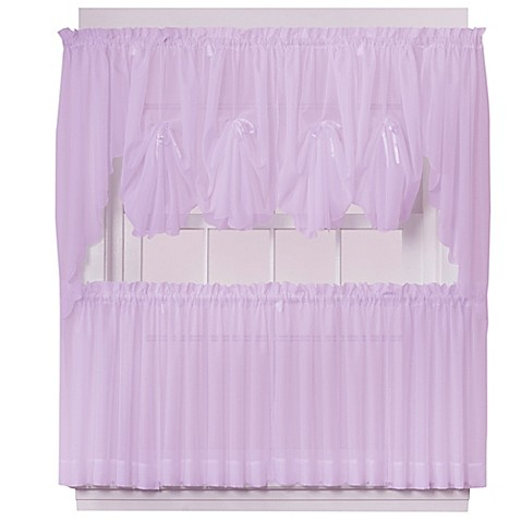 buy emelia 30 inch sheer window curtain tier pair in lilac. Black Bedroom Furniture Sets. Home Design Ideas