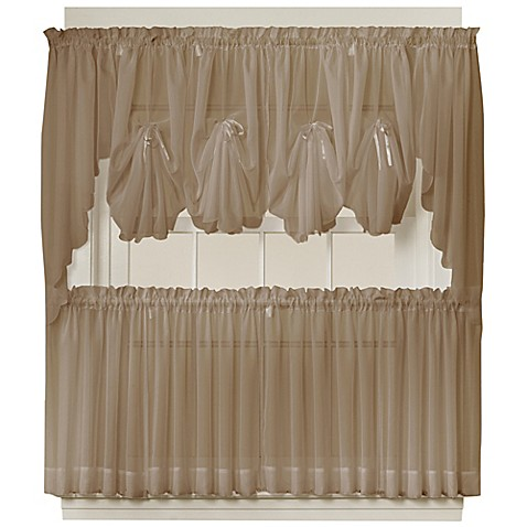Buy emelia 36 inch sheer window curtain tier pair in taupe from bed bath beyond for 36 inch bathroom window curtains