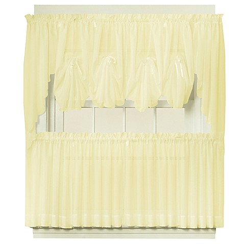 emelia sheer window curtain tier pair in yellow bed bath. Black Bedroom Furniture Sets. Home Design Ideas