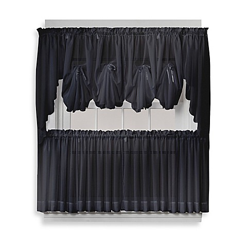 Emelia Sheer Window Curtain Panel And Valance In Black Bed Bath Beyond