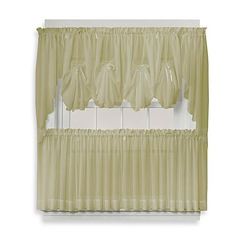 Buy Emelia 36 Inch Sheer Window Curtain Tier Pair In Leaf From Bed Bath Beyond