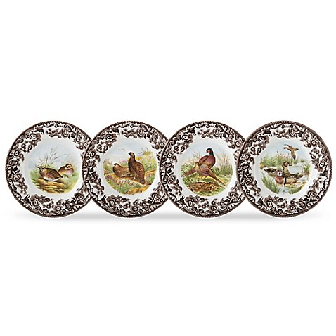 Buy spode woodland bird canap plates set of 4 from bed for Canape plate sets
