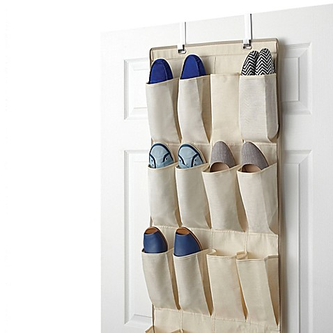 Real simple 24 pocket over the door shoe organizer bed for Door shoe organizer