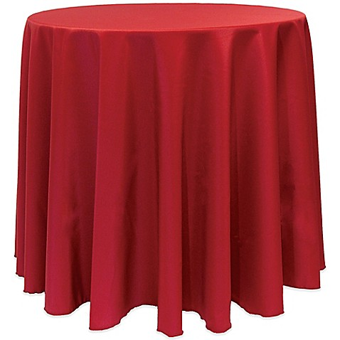 Basic 90 Inch Round Tablecloth In Holiday Red Bed Bath