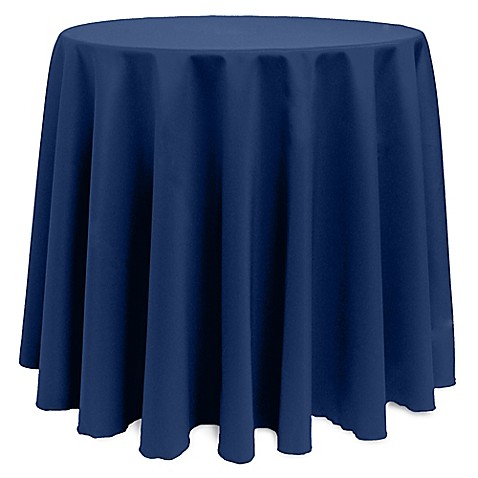 Buy Basic 90 Inch Round Tablecloth In Navy From Bed Bath