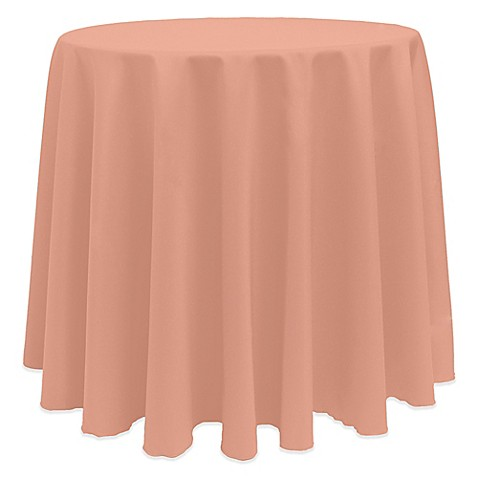 Buy Basic 90 Inch Round Tablecloth In Coral From Bed Bath