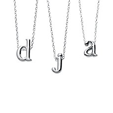 image of Sterling Silver 18-Inch Chain Lower Case Letter Pendant Necklace