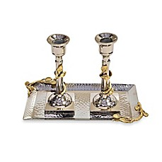 image of Classic Touch Hammered Stainless Steel Candlestick Set