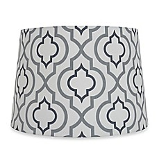 image of Mix & Match Medium 13-Inch Two-Tone Screen Printed Lamp Shade in Silver/White