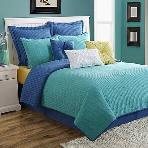 turquoise comforter set 174 calypso reversible quilt set bed bath amp beyond 10922