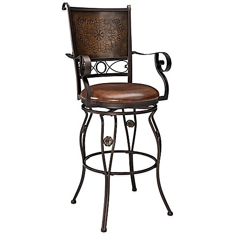 Powell Big & Tall Copper Stamped Back Stools with Arms