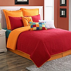 image of Fiesta® Dash Pic Stich Reversible European Pillow Sham in Scarlet