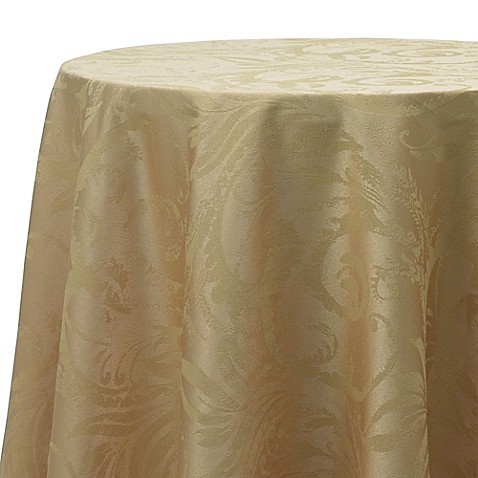 Buy Autumn Scroll Damask 70 Inch Round Tablecloth In Gold