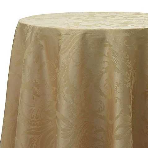 Buy Autumn Scroll Damask 90 Inch Round Tablecloth In Gold