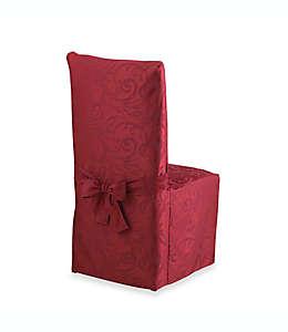 Funda para silla de comedor otoñal con diseño de volutas en vino