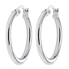 image of Sterling Silver Latch Back Hoop Earrings
