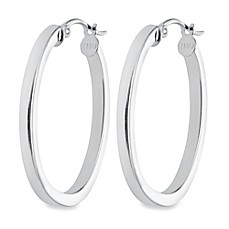 image of Sterling Silver Oval Hoop Earrings
