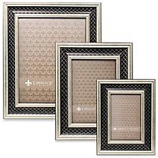 image of lawrence frames silver black lattice picture frame