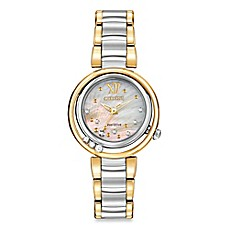 image of Citizen Eco-Drive Ladies' 30mm Diamond-Accented Sunrise Watch in Two-Tone Stainless Steel