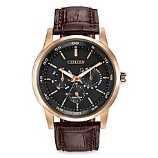 image of Citizen Men's Eco-Drive Dress Watch with 12/24-Hour Time and Brown Leather Strap